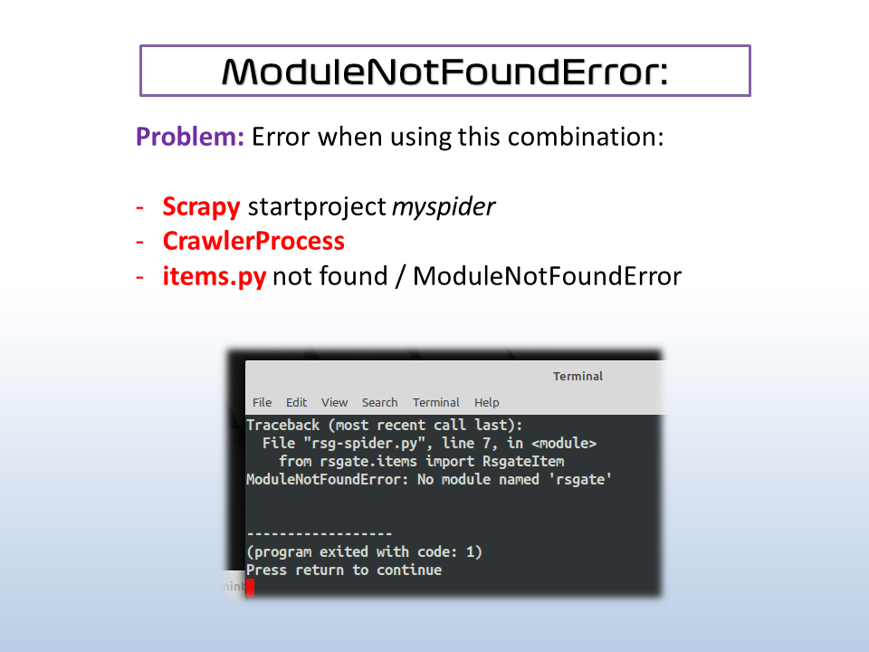 scrapy items.py module not found