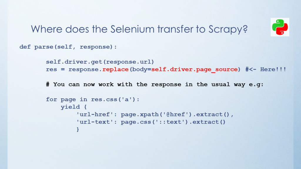 Combining Scrapy with Selenium - response.replace