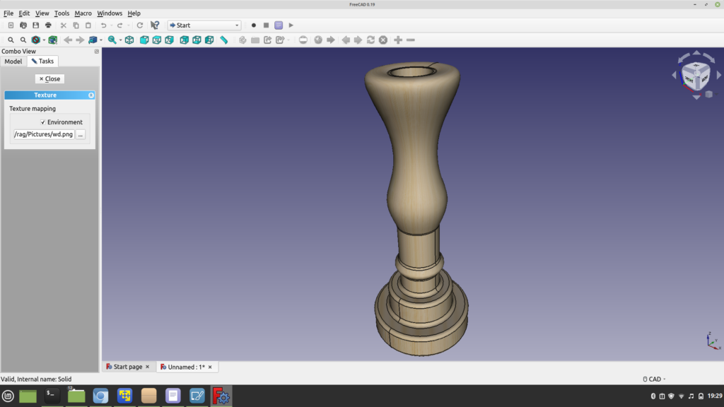Quick wood texture render by opening the .STEP file in FreeCAD
